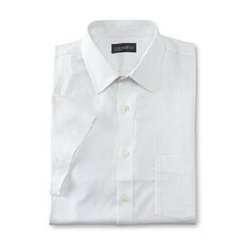 5 Covington Classic Men/'s short Sleeve Dress Shirt Egret Ecru White NWT MSR $38