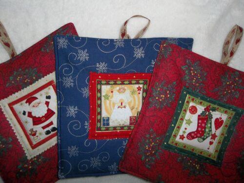 "Santa Reds /""KITCHEN POTHOLDERS/"" Christmas Time Blues Stockings Angels"