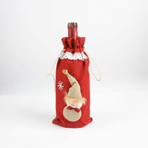 Merry Christmas Wine Bottle Cover Knitted Sweater Cap Xmas Party Dinner Ornament