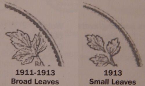 Fine 1913 Canada Small Leaves Silver 10 Cents