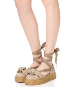 New PUMA Fenty Rihanna Bow Creeper Sandal Women s Natural Oatmeal 8 ... f54d3ac6e