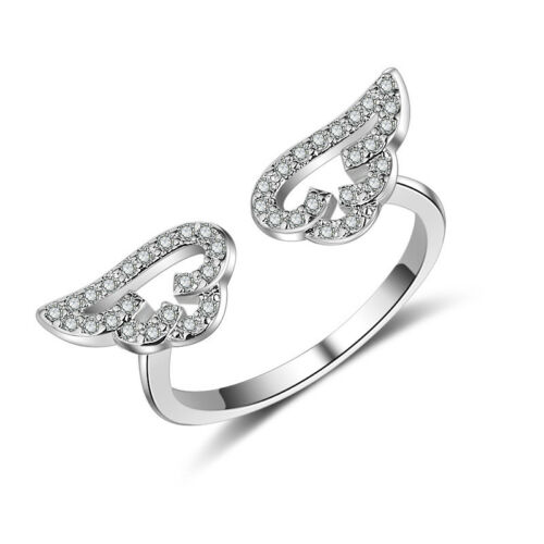 925 Sterling Silver CZ Cubic Zirconia Angel Wing Ring Women Jewellery Size O