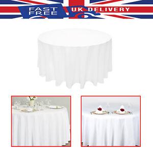Rond-blanc-polyester-Nappe-Housse-Reutilisable-Fete-de-Mariage-Decoration-108-034