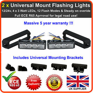 2 x 4LED 12V 24V Amber Strobe Flashing Lights Recovery Lightbar Beacon Truck Van