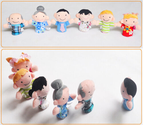 6 Pcs//Pack Adorable Finger Puppets Family Reunions Harmony Cloth Doll Baby Toys