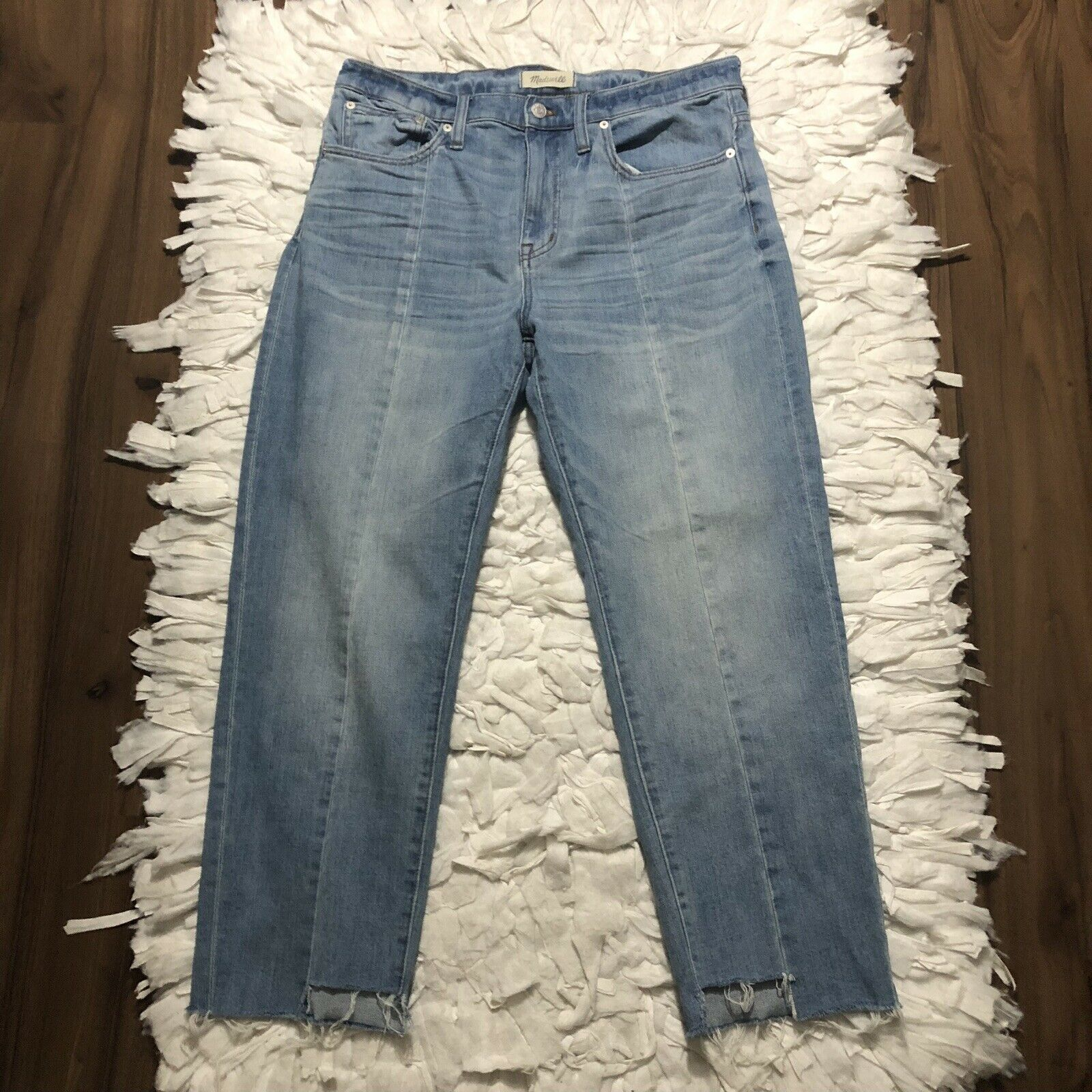 Madewell Cruiser Straight Crop Raw Hem Denim Jeans Size 31