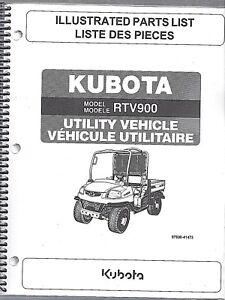 Kubota Rtv900 Utility Vehicle Side By Side Illustrated Parts Manual