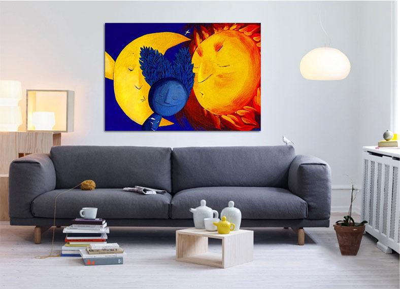 3D Moon Sun Wall Stickers Vinyl Murals Wall Print Decal AJSTORE UK Lemon