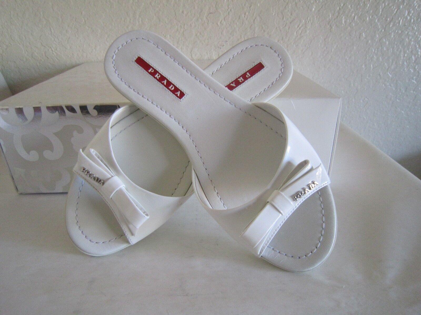 PRADA Weiß Patent  Bow Leder Flat Bow  Slide Sandals Mules schuhes  Sz 36 Us 6 $390 ae847b