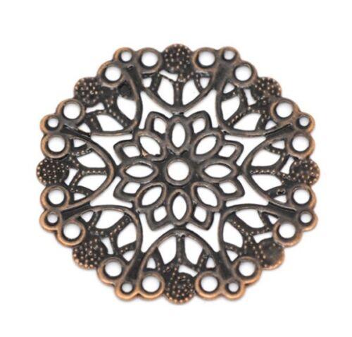 "10 ROUND FLOWER Antiqued Copper-tone FILIGREE WRAPS 1-3//8/"" 35mm 14748"