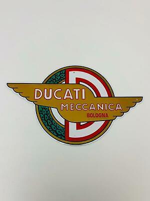 Insegna targa metallica COMPATIBILE CON DUCATI meccanica vintage nero ORIGINALE