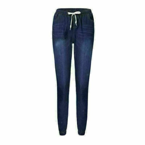 Drawstring waist stretch long trousers denim slim Womens pants pencil elastic