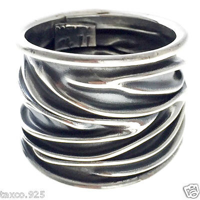 TAXCO MEXICAN 925 STERLING SILVER DECO TEXTURED RING MEXICO