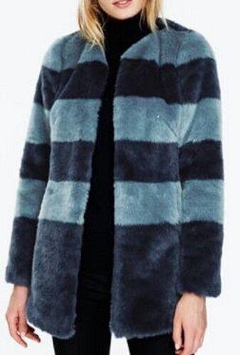 NWT   BODEN Pippa Coat bluee Stripe Faux-Fur Size US 8