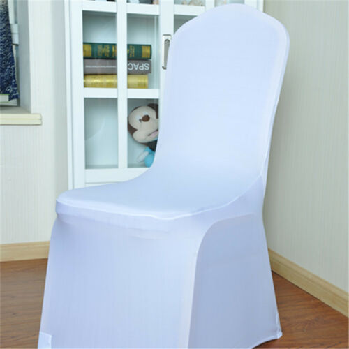 White Wedding Party Chair Cover Universal Stretch Polyester Spandex Chair Covers