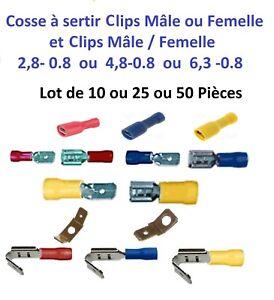 cosse lectrique isol e sertir clips m le femelle de 0 5 6 mm lot 10 25 50 ebay. Black Bedroom Furniture Sets. Home Design Ideas