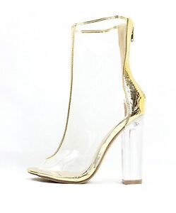 Details about Shoe Republic Mitsie Open Toe Block Chunky Clear Perspex Lucite  Heel Bootie