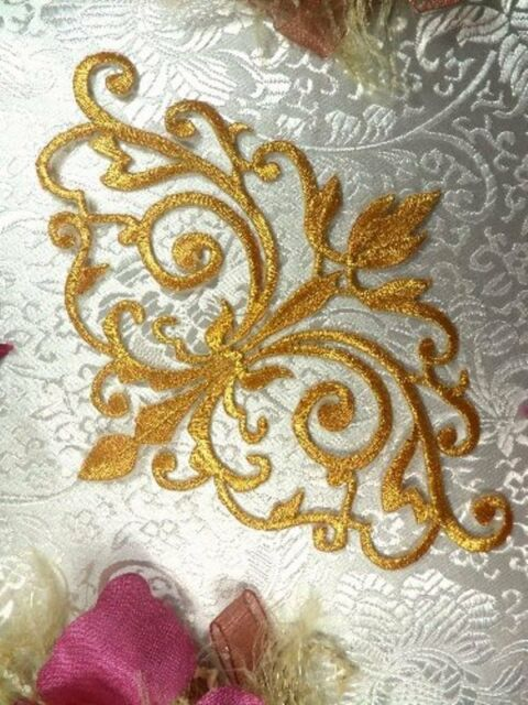 GB56 Embroidered Applique Gold Metallic Iron On Patch Sewing Crafts Motif 6.5""