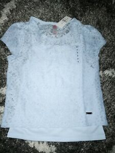 Girls-justice-floral-lace-layered-top-size-8-new-lt-blue
