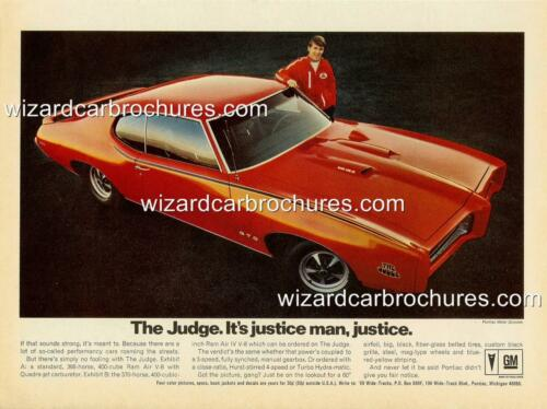 1969 PONTIAC GTO THE JUDGE A3 POSTER AD ADVERT ADVERTISEMENT SALES BROCHURE