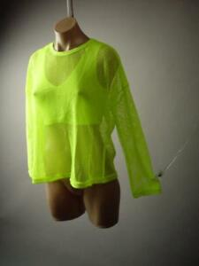 Neon-Yellow-Fishnet-Cyber-Goth-Rave-Punk-80s-90s-Raver-Club-Top-276-mv-Shirt-M-L