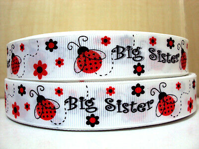 """1 m x  7//8/"""" Red Ladybug with Glitter Wings Big Sister White Grosgrain Ribbon"""