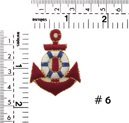 """#270IR Small Anchor Nautical Embroidered Sew Iron on Motif Patch Badge 1.70/""""Tall"""