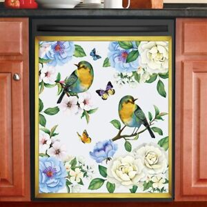 Beautiful Songbird Garden w/ Bright Butterflies Kitchen Dishwasher Cover Magnet