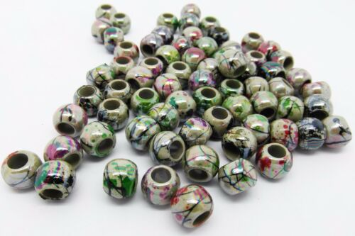 100 Acrylic Drawbench 8mm Beads AB Coated for Shimmer Large 4mm Hole J24729V