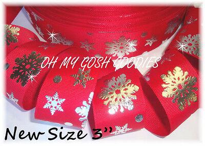"3"" CHRISTMAS SILVER BLING METALLIC SNOWFLAKE BLING GROSGRAIN RIBBON 4 BOW RED"