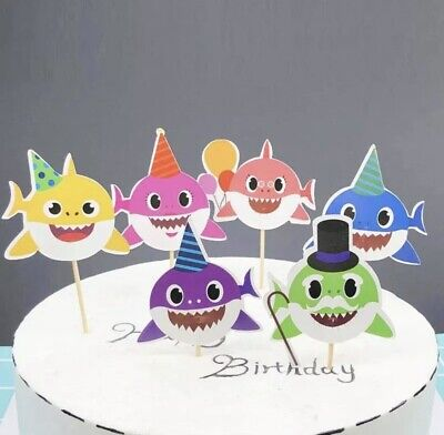 BABY SHARK CUPCAKE TOPPERS X24 EDIBLE FAIRY CAKE DECORATIONS PINKFONG