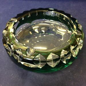 Vintage-Green-And-Clear-Glass-Ashtray-By-Val-St-Lambert-Signed-To-Base
