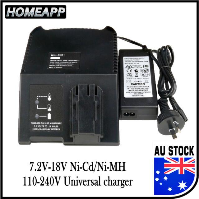AU Battery Charger for MILWAUKEE AEG ATLAS COPCO 7.2V-18V 12V 14.4V Ni-Cd Ni-MH