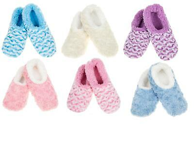 Ladies Snoozies Stripe /& Rose Fur Collection Fleece Lined Slipper Foot Coverings
