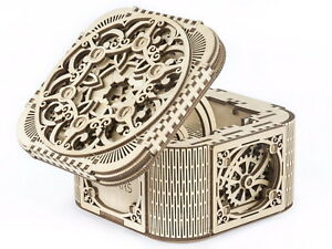 Details About Treasure Jewelry Box 3d Wooden Puzzle Diy Mechanical Model Assembly Gears Kit