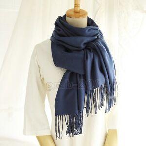 Femme-Fashion-Bleu-Fonce-100-Cachemire-Pashmina-solide-long-chale-echarpe-Wrap