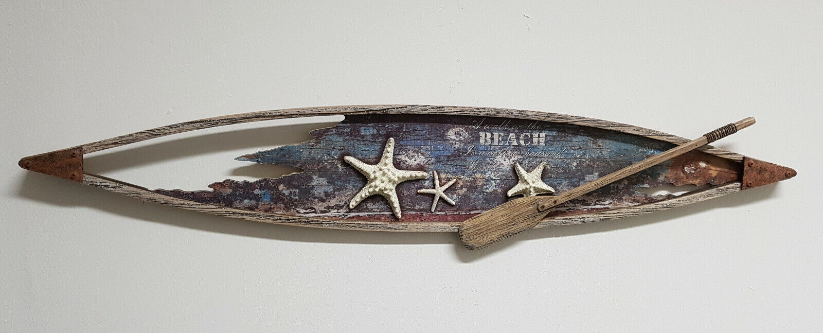 Maritimes Wandbild Wanddekoration Stiefel Paddel Seesterne   3D Optik  Vintage Look