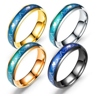 Titanium Steel Men Women Mood Changing Color Heart Beat Ring Couple Band Ring