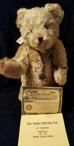 100th Ann.Boyd's The Mohair Bears Theodore M. Bear signed ear tag COA Limited Ed