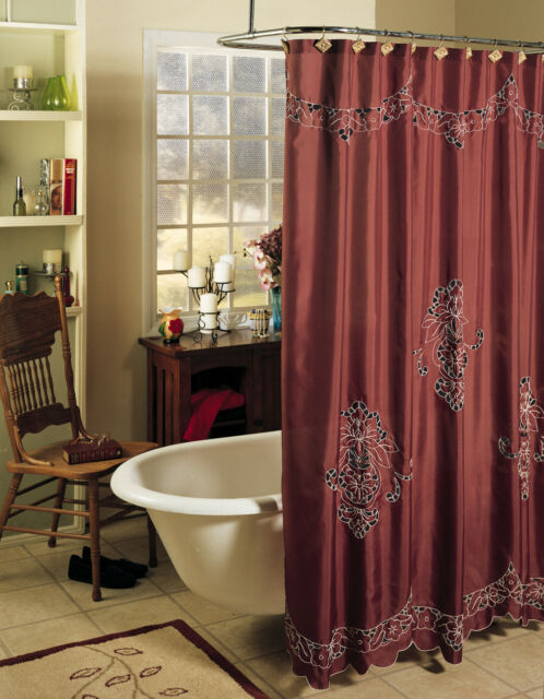 Valencia Cutwork Fabric Shower Curtain Burgundy Holiday Creative Linens 7087
