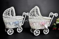Baby Shower Party Decoration Girl Pink Wicker Baby Carriage Centerpiece