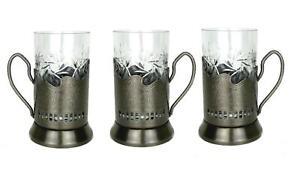 18-pc Set Russian Tea Glass Holders Podstakannik /& Cut Crystal Glasses /& Spoons