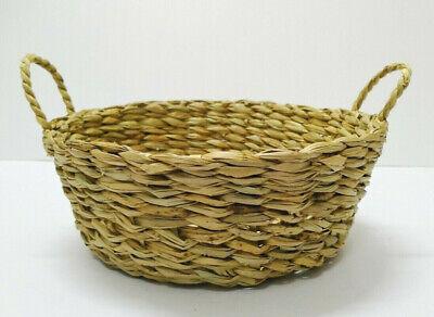 Thai Miniature Basket Bamboo Vintage Handmade striped Woven Wicker Small Handle