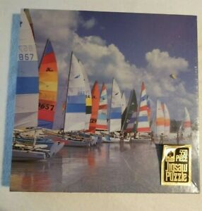 Hoyle 550 Piece Puzzle BEACHES PARTY 18 X 24 Vintage Sealed Sailboats Made USA