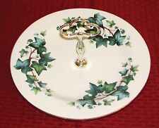 """Royal Vale England Ivy 10 5/8"""" Round Serving Plate With Handle Tidbit Tray - VGD"""