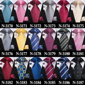 300-Colors-Mens-Blue-Burgundy-Red-Black-Grey-Brown-Green-Silk-Tie-Necktie-Set