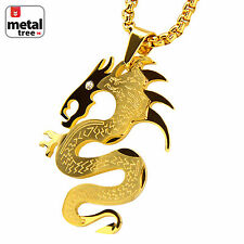 "Boy's 14k Gold Plated Stainless Steel Dragon Pendant 24"" Box Necklace SCP 124 G"