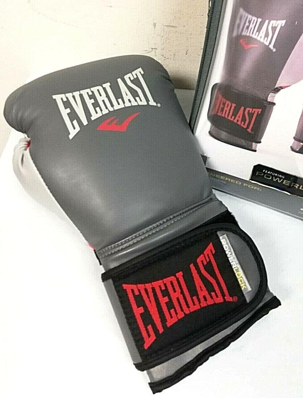 Everlast 2200656 Powerlock Training Gloves Hook /& Loop Red//Grey 14 0Z