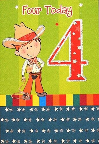 Age 4 Boy Birthday card  Birthday card for age Four Boys 4 today Birthday card