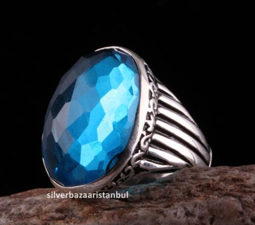 Details about  /Turkish handmade 925 Sterling Silver Aquamarine Stone Mens ring ALL SİZE usa 230